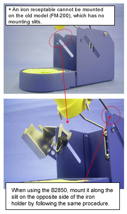 When using the B2850, mount it along the slit on the opposite side of the iron holder by following the same procedure.
