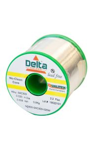 NC600 Qualitek No Clean Delta Lead Free Solder Wire SAC305 Alloy 0.508mm 2.2% Flux 500G