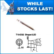 T10-D32 3.2 mm Straight Chisel Soldering Iron Tip