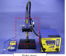 Examples of use in combination with HAKKO FG-100, rework fixture (No. C1392B) and HAKKO FR-803B