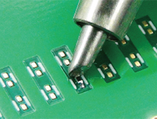 Soldering tiny chip parts such as 0603