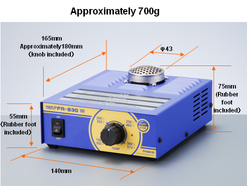 Outer dimensions of HAKKO FR-830