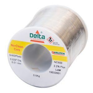 NC600 Qualitek No Clean Delta Solder Wire 0.51mm Tin 60/40 Lead Alloy 2.2% Flux 500G