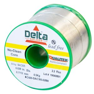 NC600 Qualitek No Clean Delta Lead Free Solder Wire SAC305 Alloy 0.7112mm 2.2% Flux 500G