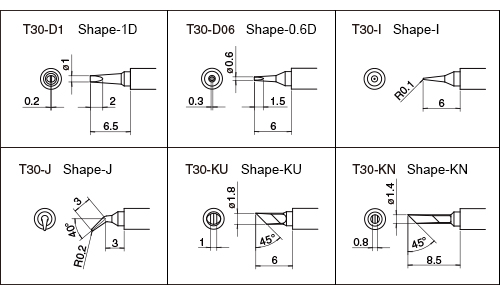 Tips designed especially for HAKKO FM-2032 - T30 Series