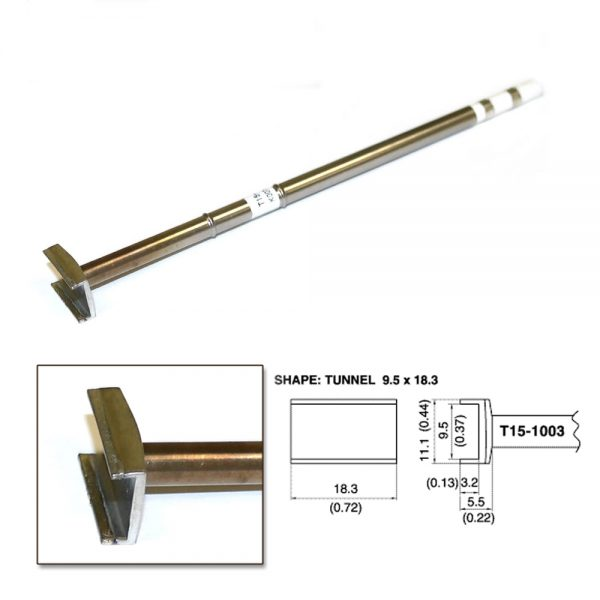 T15-1003 SMD Tunnel Soldering Tip 18.3mm x 11.1mm