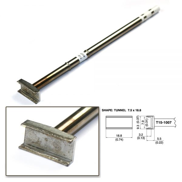 T15-1007 SMD Tunnel Soldering Tip 18.8mm x 9.3mm