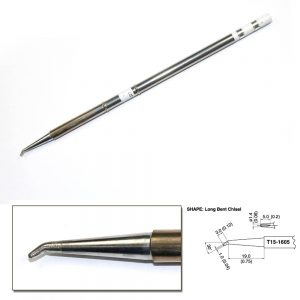 T15-1605 Long Bent Chisel Soldering Tip R0.75mm /30° x 19mm