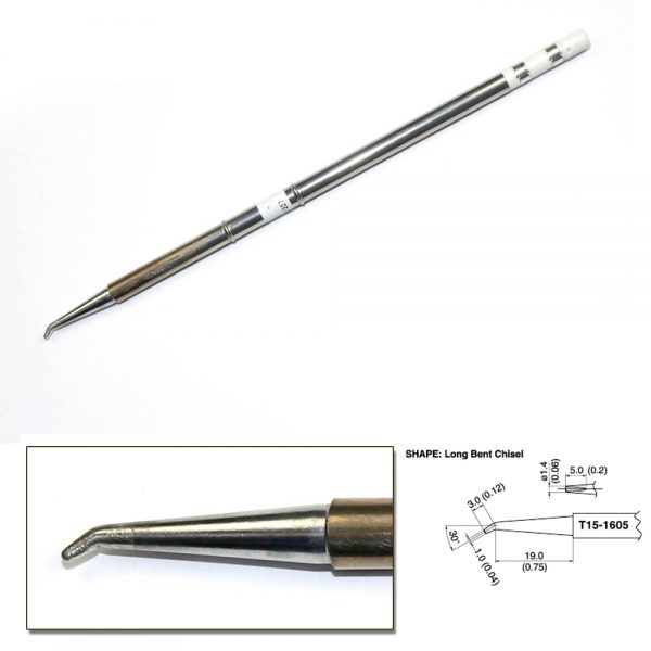 T15-1605 Long Bent Chisel Soldering Tip R0.75mm /30° x 19mm