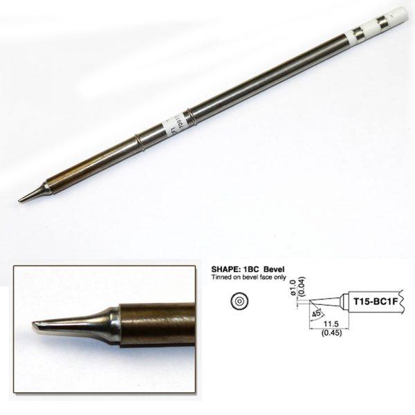 T15-BCF1 Bevel Soldering Tip 1mm/45°deg; x 11.5mm