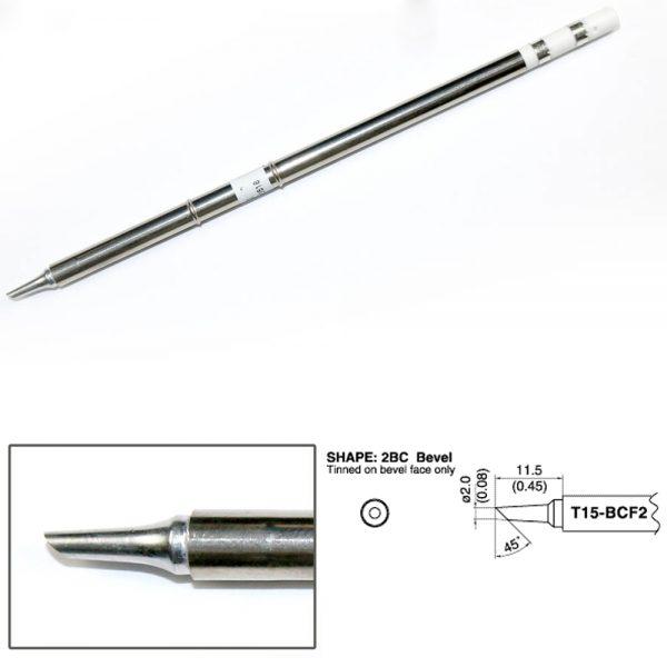 T15-BCF2 Bevel Soldering Tip 2mm/45° x 11.5mm