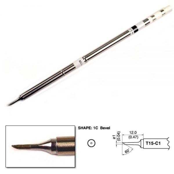 T15-C1 Bevel Soldering Tip  1mm/60°x 12mm