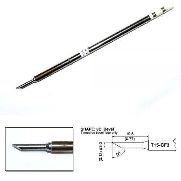 T15-CF3 Bevel Soldering Tip  3mm/60°x 19.5mm
