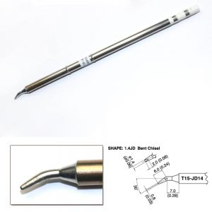 T15-JD14 Bent Chisel Soldering Tip 0.8mm/30° x 7mm