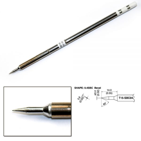 T15-SBC04  Bevel Soldering Tip 0.45mm/60°x 14mm