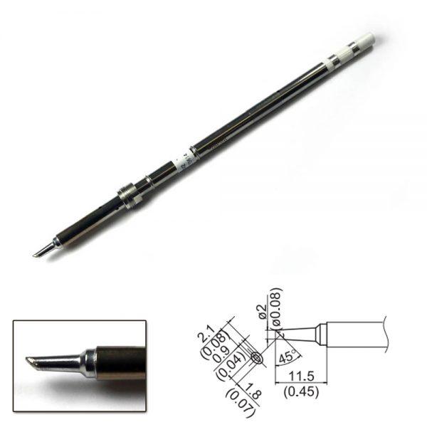 T17-BCM2 Concave Bevel Soldering Tip 2mm/45° x 11.5mm