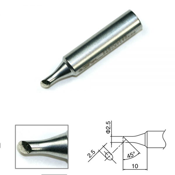 T18-CSF25 Bevel Soldering Tip Tinned Cut Surface - 2.5mm/45° x 10mm