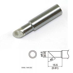 T19-C65 Bevel Soldering Tip 6.5mm/45° x 15.5mm