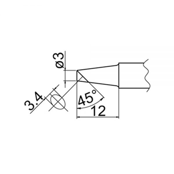 T20-BC3 Bevel Soldering Tip 3mm /45° x 12mm