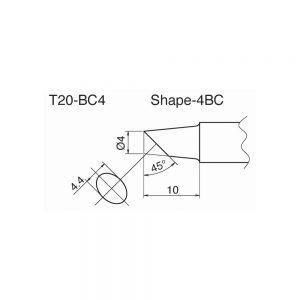 T20-BC4 Bevel Soldering Tip 4mm /45° x 10mm