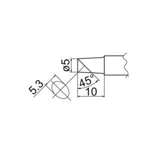 T20-C5 Bevel Soldering Tip 5mm /45° x 10mm