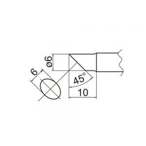 T20-C6 Bevel Soldering Tip 6mm /45° x 10mm