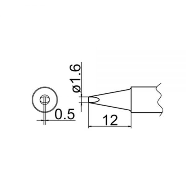 T20-D16 Chisel Soldering Tip 1.6mm x 0.5mm x 12mm