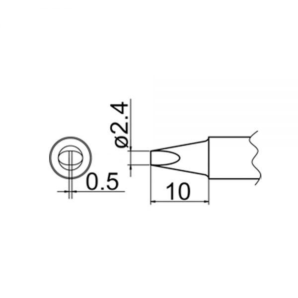 T20-D24 Chisel Soldering Tip 2.4mm x 0.5mm x 10mm