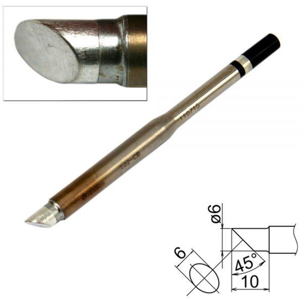 T22-C6 Bevel Soldering Tip 6mm/45° x 10mm