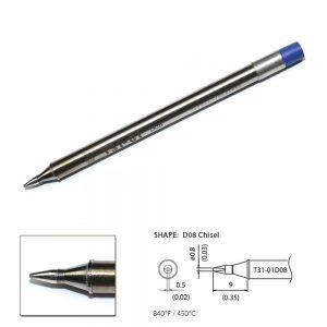T31-01D08 Chisel Soldering Tip 0.8 x 9mm 450°C