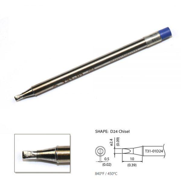 T31-01D24 Chisel Soldering Tip 2.4 x 10mm   450°C