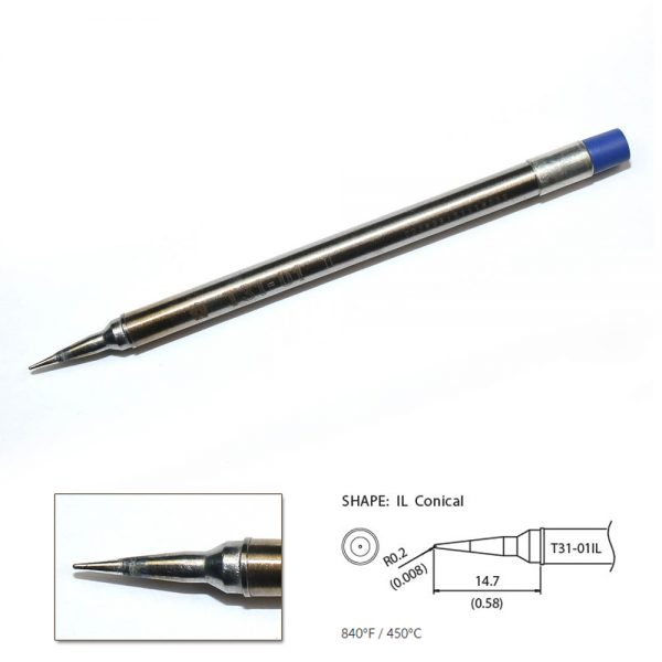T31-01IL Conical Soldering Tip R0.2 x 14.7mm 450°C