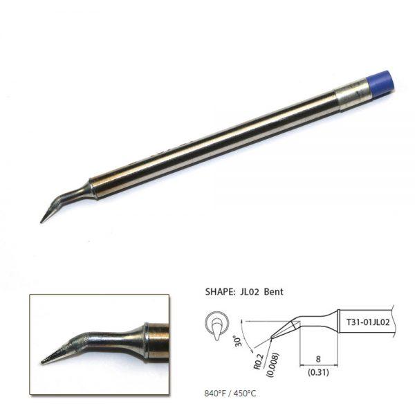 T31-01JL02 Angled Soldering Tip R0.2mm / 30° x 7.2mm x 8mm 450°C
