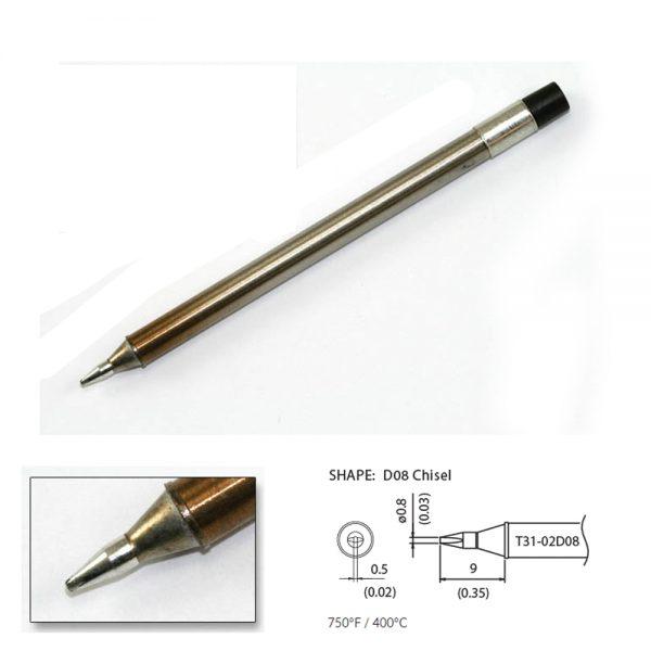 T31-02D08 Chisel Soldering Tip 0.8 x 9mm 400°C