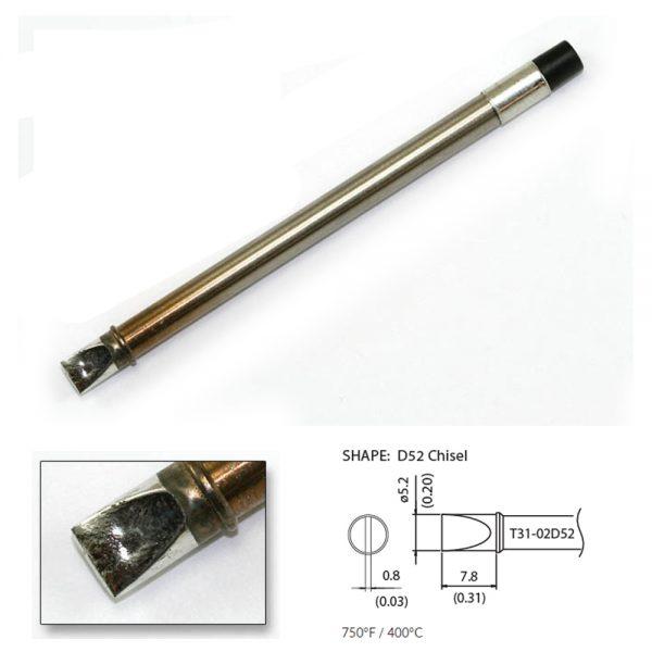 T31-02D52 Chisel Soldering Tip 5.2 x 7.8mm  400°C