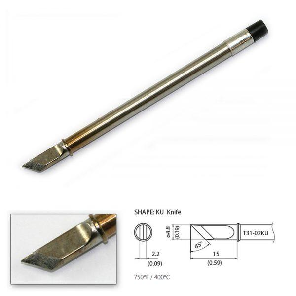 T31-02KU Knife Soldering Tip 4.8mm / 45° x 15mm 400°C