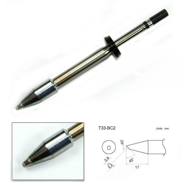 T33-BC2 Bevel Soldering Tip 2mm/45° x 17mm