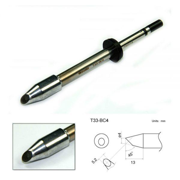 T33-BC4 Bevel Soldering Tip 3mm/45° x 13mm.