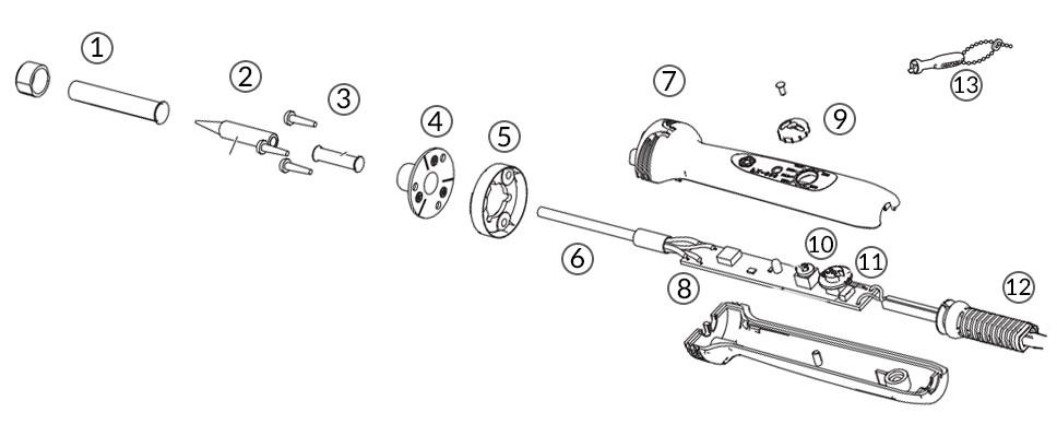 FX601 Soldering Iron & Temperature Control - parts diagram