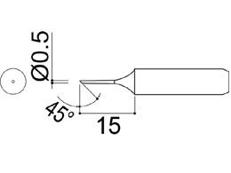 900M-T-0.5C Bevel Soldering Iron Tip 0.5mm/45° x 15mm
