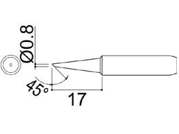 900M-T-0.8C Bevel Soldering Iron Tip 0.8mm/45° x 15mm