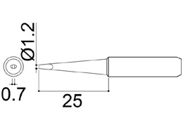 900M-T-1.2LD Chisel Soldering Iron Tip 0.7 x 1.2 x 25mm