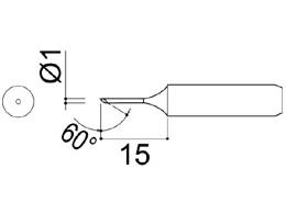 900M-T-1CF Bevel Soldering Iron Tip 1mm/60° x 15mm