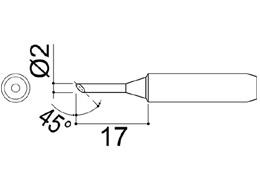 900M-T-2C Bevel Soldering Iron Tip 2mm/45° x 17mm