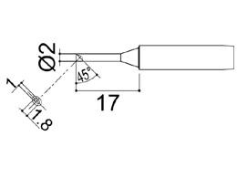 900M-T-2CM  Bevel Soldering Iron Tip 2mm/45° x 17mm