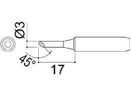 900M-T-3C Bevel Soldering Iron Tip 3mm/45° x 17mm