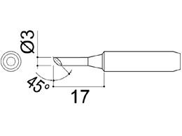 900M-T-3CF Bevel Soldering Iron Tip 3mm/45° x 17mm