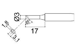 900M-T-3CM Bevel Soldering Iron Tip 3mm/45° x 17mm