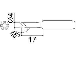 900M-T-4CF Bevel Soldering Iron Tip 4mm/45° x 17mm
