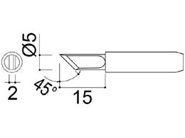900M-T-K Knife Soldering Iron Tip 2mm/45° x 15mm